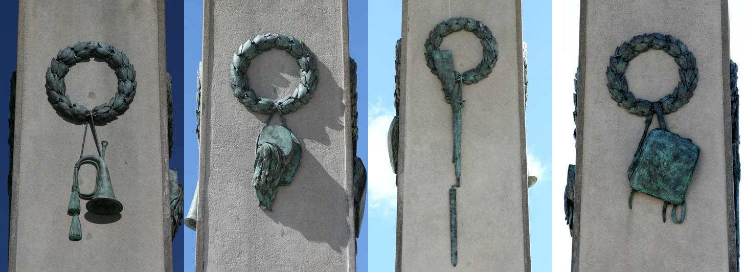 Atributy polních myslivců pro kopalův pomník